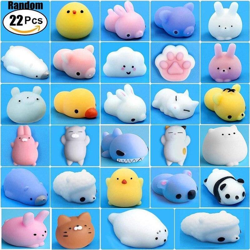 22 pcs Mochi Mole Brinquedos Mini Urso do Kawaii Squishies Bonito Animais para Favores de Partido Macio Gato Tigre Panda Porco Stress apaziguador