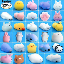 22pcs Mochi Squishy Toys Mini Cute Squishies Animals for Party Favors Soft Kawaii Bear Cat Tiger Pig Panda Stress Reliever