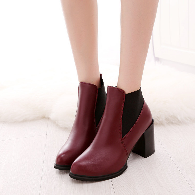 2016 Women's shoes new winter Europe and pointed high-heeled boots thick with elastic stitching Martin naked fashion