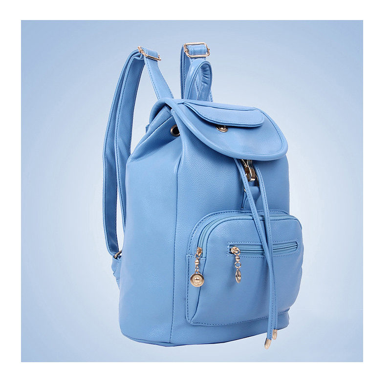 New Summer bule Double Shoulder Bag Women PU Leather Backpack Fashion School Bags For Girls mochila feminina W0157 2017 new fashion designer women backpack women travel bags vintage school shoulder bag motorcycle bag mochila feminina
