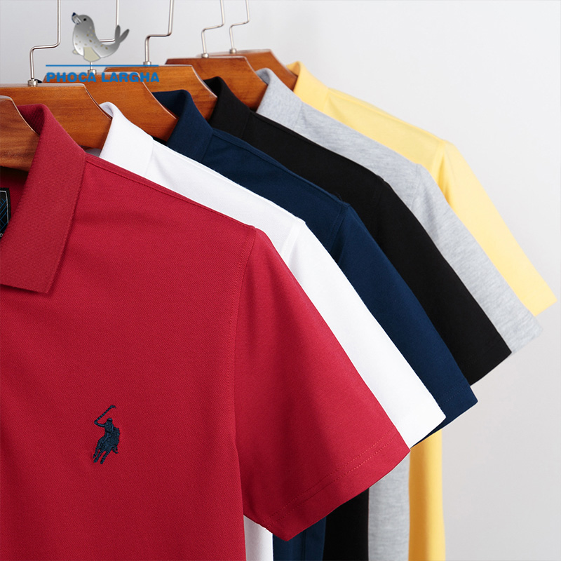 New Casual PoloShirts Men 3D Embroidery Summer Short Sleeve For Man Slim Fit Cotton Solid Color Camisa   Polos   hombre Masculina