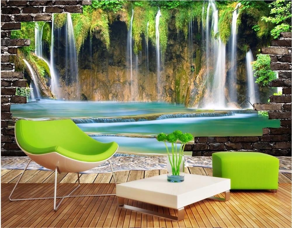 Custom photo 3d wall murals wallpaper Mountain waterfalls