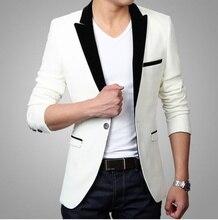 цена на 2019 Cream Fashion Black Lapel Designs Men Slim Fit Suit Jacket Stylish Casual One Button Prom Blazer