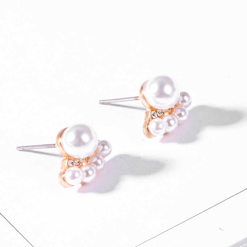 SUKI Brincos 2019 Cute ABS Pearl Stud Earrings Decor Ear For Women Fashion Jewelry Gold Color Female Brincos Pequenos