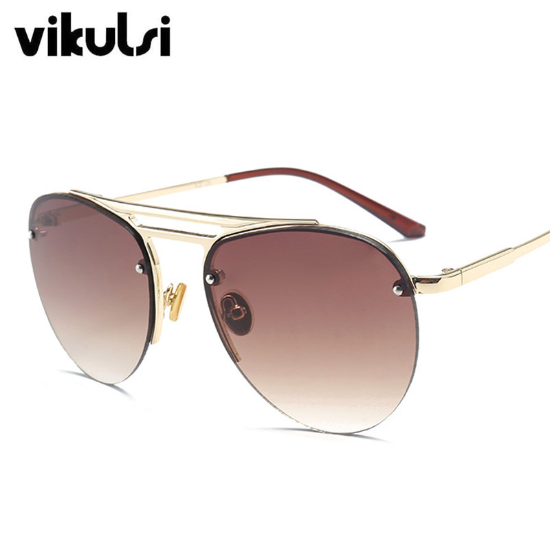 New Classic Mens Rimless Aviator Sunglasses Women Brand Designer Vintage Clear Glasses Fashion Sun shades For Men Sunglass UV400
