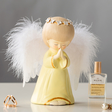 Europe 12.19 Resin Blessing angel Figurines lovely Feather Illuminate fairy Statue tabletop crafts Home Decor Creative Gift