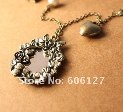 Antiquity Style Carved Vine Flowers/Mirror Necklace Heart Chain Necklace Imitated Gemstone Jewelry 12pcs