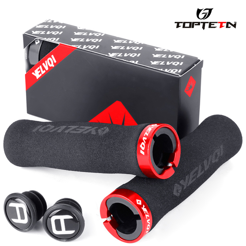 TOPTETN Bicycle Handlebar Grips Anti-Slip Silicone Sponge Grips Mountain Bike Handle Ultralight Soft Absorbent Bike Grips MTB
