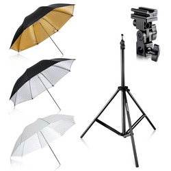 Neewer Flash Mount Three Umbrellas Kit 33/84cm White Soft/Silver Reflective/Gold Reflective Umbrella for Canon Nikon Yongnuo