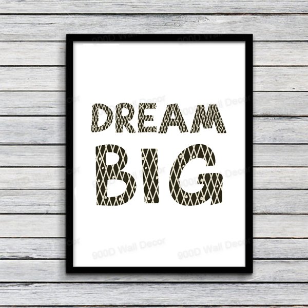 Popular Cartoon Dream Big Quote Canvas Art Print, Wall Pictures Home  IS91
