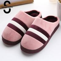 e7fde5ffc6 Senza Fretta Women Slippers Striped Bottom Lovers Women Men Indoor Slippers  Warm Cotton Shoes Indoor Warm