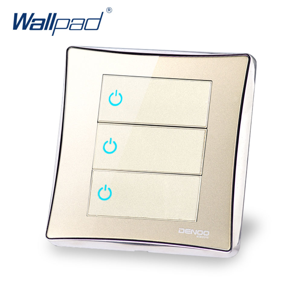 3 Gang 1 Way Free Shipping 2017 Hot Sale Wallpad Luxury LED Wall Light Switch Panel Random Click Switch 16A AC 110-250V double computer socket free shipping hot sale china manufacturer wallpad push button luxury arylic mirror panel wall