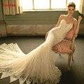 Luxo contas de cristal lace sereia vestidos de casamento 2017 sexy backless vestido de noiva top vestido personalizado vestido de noiva