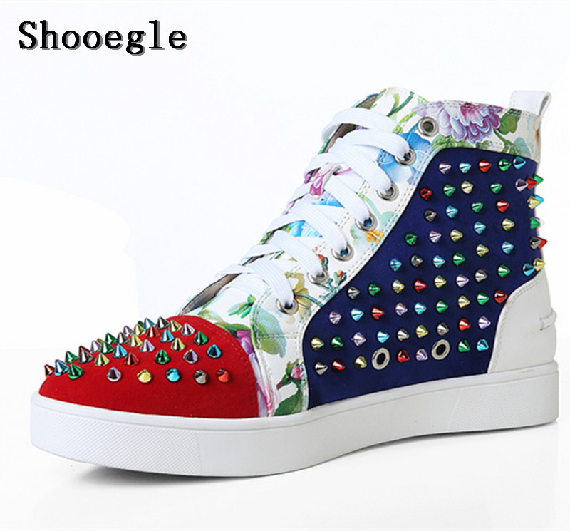 SHOOEGLE New Men Big Size 39-46 Spike Shoes Fashion Flats High-top Ankle Boots Printing Platform Colorful Rivets Studs
