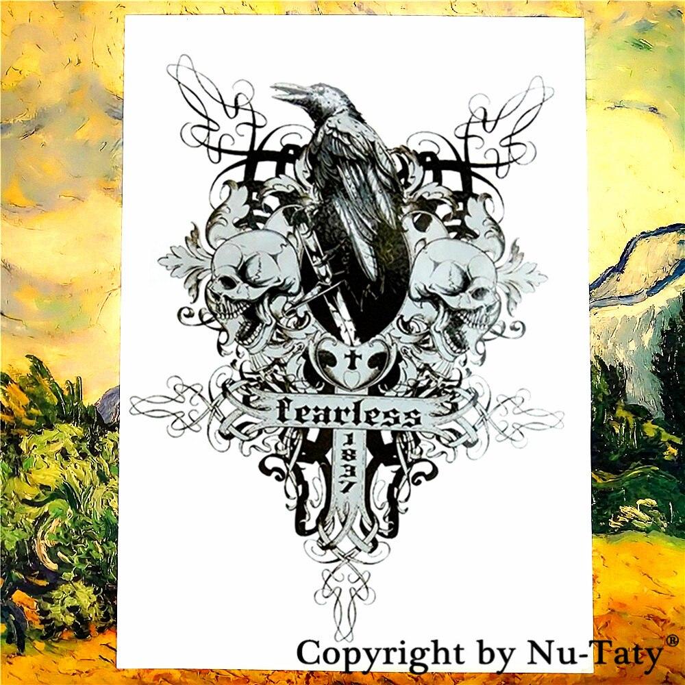 SHNAPIGN Crow Skull Cross Temporary Tattoo Body Art Flash Tattoo Stickers 21*15cm Waterproof Car Styling Home Decor Wall Sticker