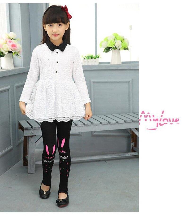 Весенне-осенние леггинсы для девочек; обтягивающие черные хлопковые эластичные штаны; леггинсы для девочек с рисунком кота, банта, цветов, кота; детские штаны - Цвет: rabbit