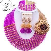 Laanc 8 Rows Màu Tím và Vàng AB Nigeria Wedding Beads Phi Set Trang Sức Pha Lê 8RCS029