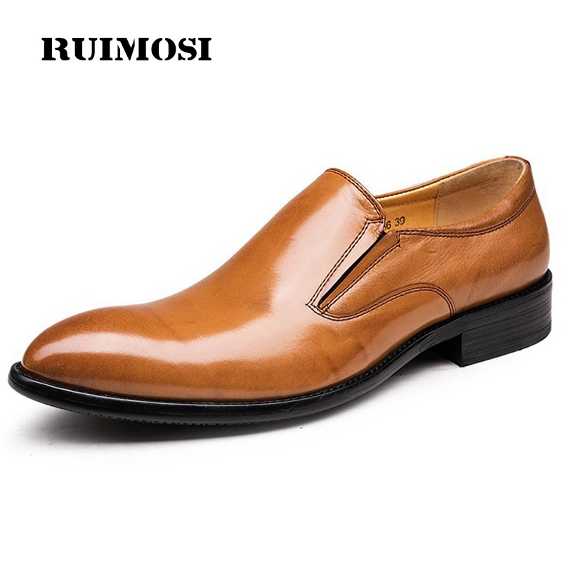 RUIMOSI Round Toe Heels Man Casual Shoes Genuine Leather Male Loafers Luxury Brand British Designer Men's Wedding Flats QC53