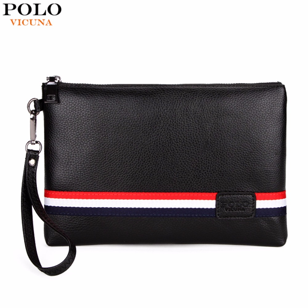 VICUNA POLO Fashion Classic Striped Design Men Clutch Wallet Famous Brand Mens Clutch Handbag With Belt Large Envelope Bag New trendy women s clutch with envelope and twist lock design