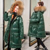 Women Winter Jackets Shiny Female Coats Natural Fur Parka Women's Streetwear Padded Oversized Hooded Jacket 2019 New GREEN