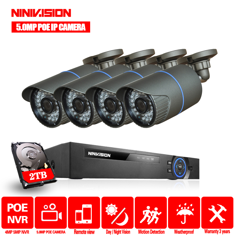 8CH 4MP CCTV Security 4CH POE NVR Kit System 5MP POE Audio Record NVR Outdoor POE IP Camera P2P Video Surveillance Set image