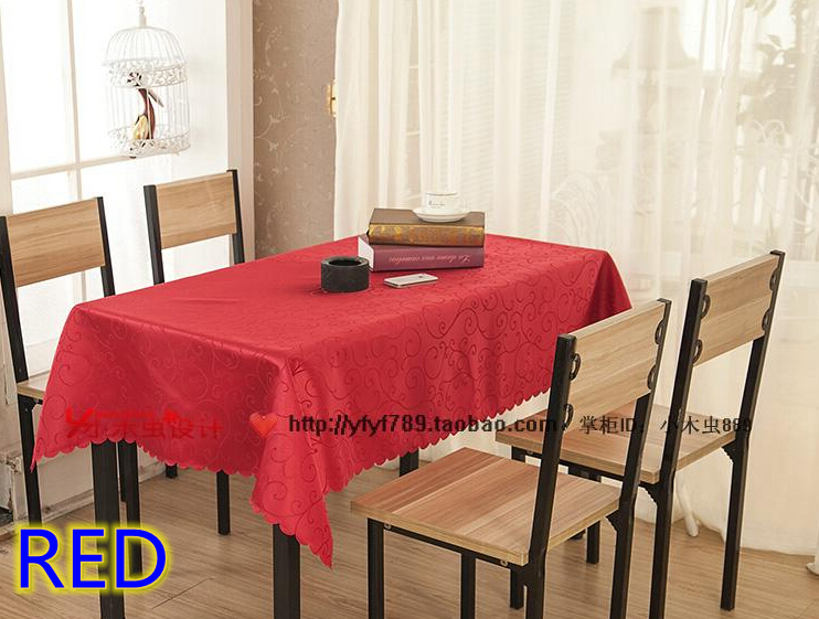 red colour jacquard rectangle square wedding table linensdamask table cover for weddinghotel