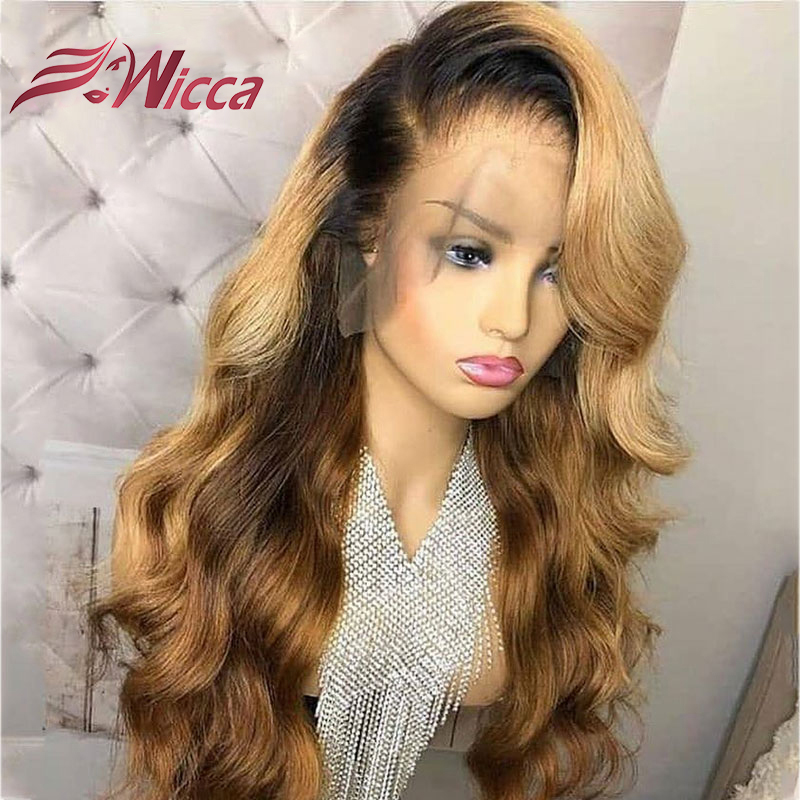 Wicca Brazilian Wave 13X6 Lace Front Human Hair Wigs With Babyhairs PrePlucked Honey Blonde Remy Ombre Color Glueless Wig