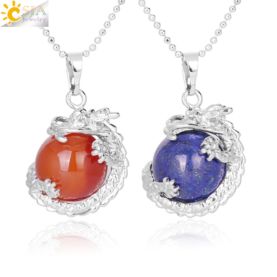 CSJA China Dragon Wrapped Natural Stone Pendant Necklace for DIY Handmade Necklaces Round Ball Shape Crystal Bead Women Men F331