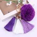 1PC  Women's Fashion Handbag Key Chain Ring Rabbit Fur Ball Car Tassel Pendant  Key Chain For car bag decoration 6 Colours