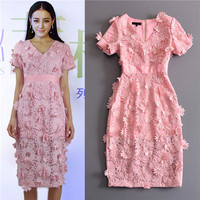 top quality new arrival summer short sleeve under knee pink dress appliques embroidery v-neck beautiful sweete dresses for women