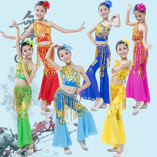 fca755915042 Chinese Folk Dance Dai Dance Costume Peacock Dance Wear for Children Top +  Pants Traditional Folk Performance Clothing