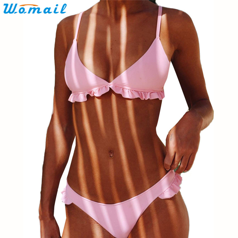 Womail Suit Bikini Swimwear Women Push-Up Padded Bra Beach Bikini Set Swimsuit Swimwear 2017 drop shopping 1PC