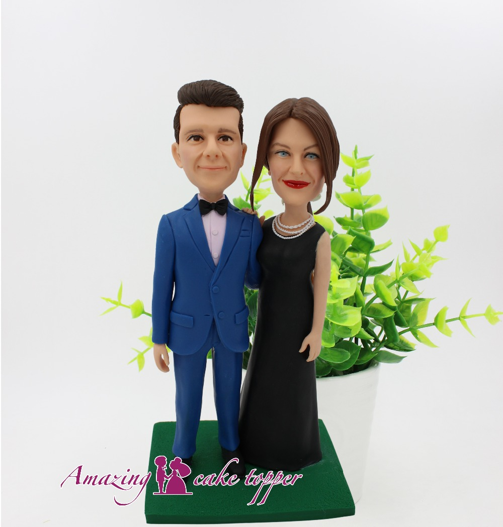 2019 AMAZING CAKE TOPPER Simple and elegant black dress Toys Custom Polymer Clay Figure From Pictures