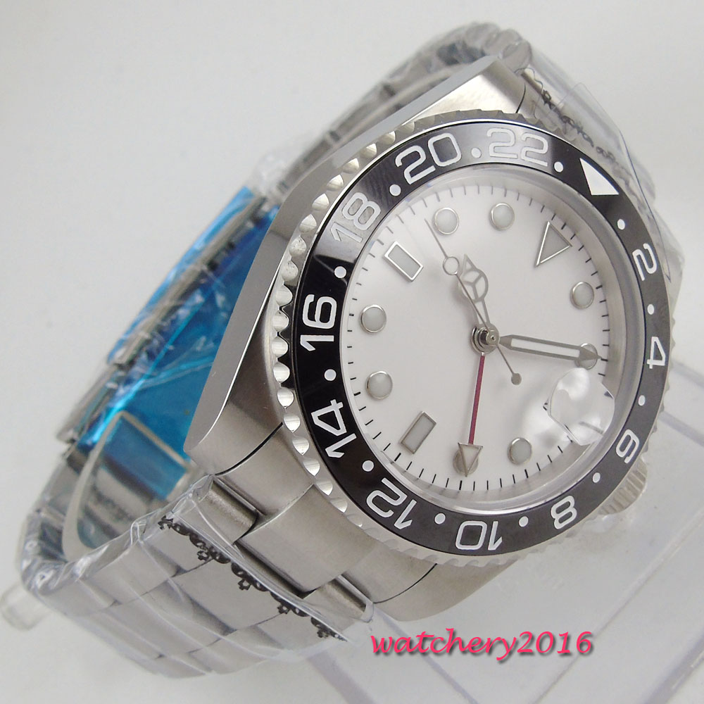 Sweet 43mm Bliger White Dial Ceramic Bezel Sapphire Glass Date GMT SS Case Luminous Hands Automatic Movement men's Watch цена и фото