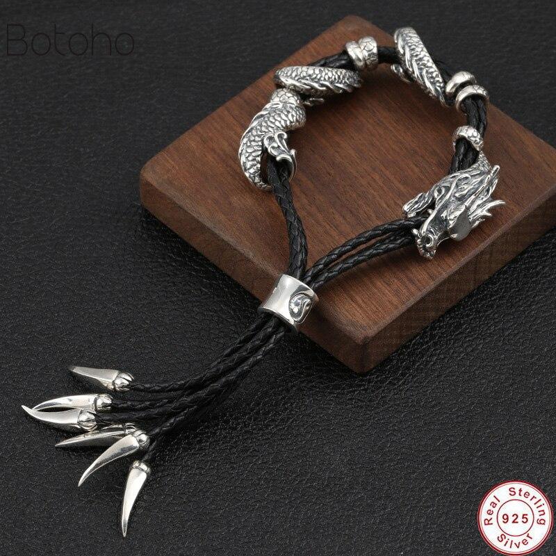 86g Véritable 925 Sterling Argent Dragon Gourmette Hommes Bracelet Vintage Punk Thaïlandais Argent Fabriqués À La Main Bracelets Pour hommes Bijoux