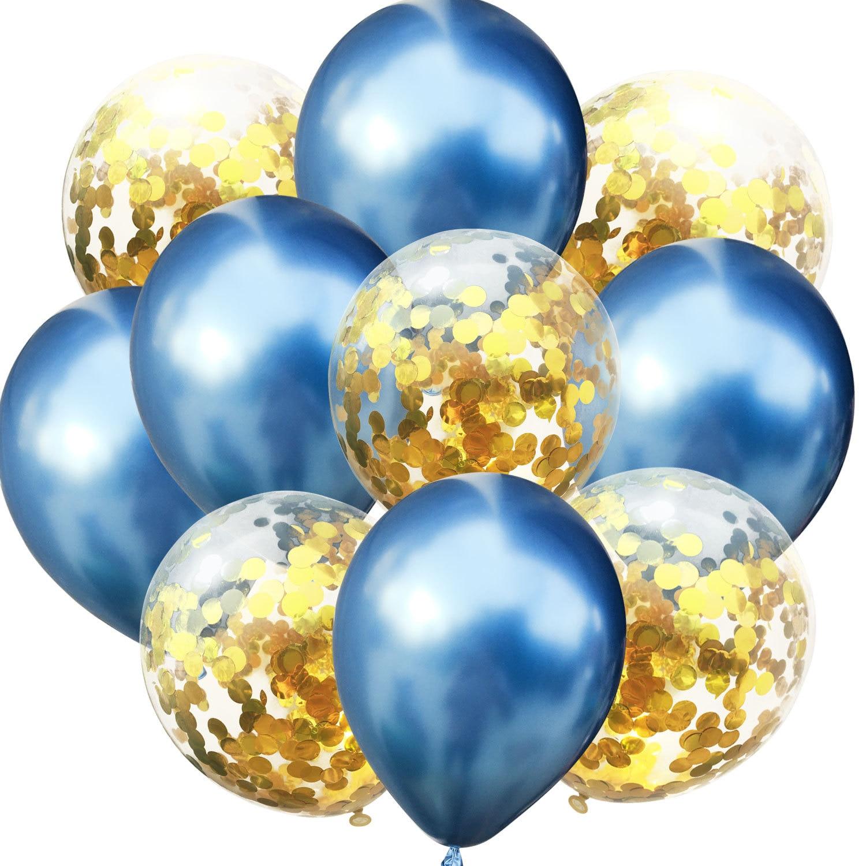10 шт./лот, 12 дюймов, 5 шт., металлический цвет+ 5 шт., конфетти, латексные шары, для детей, для дня рождения, украшения, шары, мультяшная шляпа, игрушка - Цвет: blue gold
