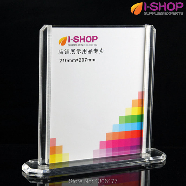T Shape Double Sided Acrylic Photo Frame With Base Clear Picture