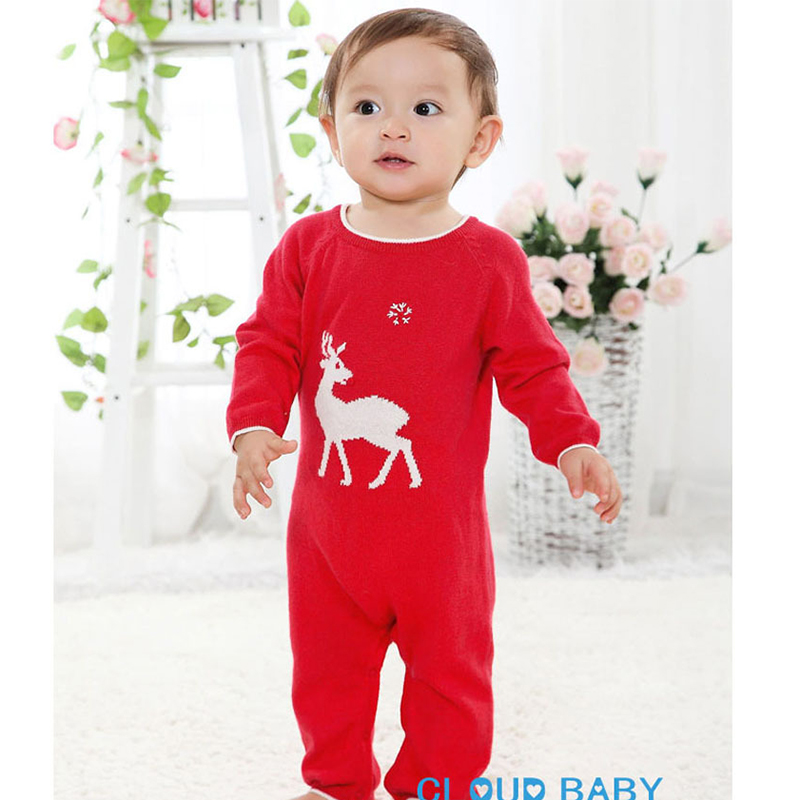 0-18M baby rompers Christmas newborn baby clothes knitted thin long sleeve baby onesie jumpsuits for girls boys toddler rompers