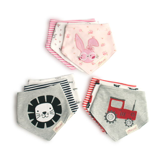 3pcs baby bibs animal cartoon saliva towel Boys Girls burp cloths triangle cotton bandana Newborn Scarf toddlers accessories