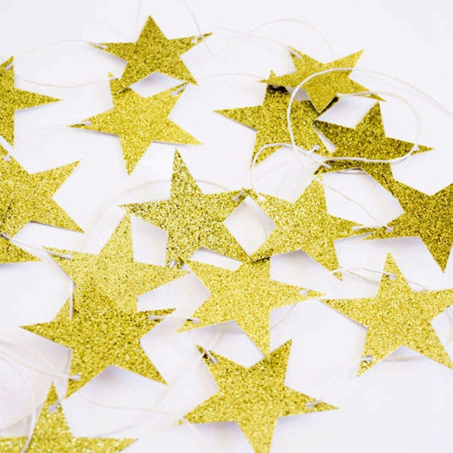 Gold Glitter Star Wedding Birthday Decorations Christmas Star - christmas star decorations