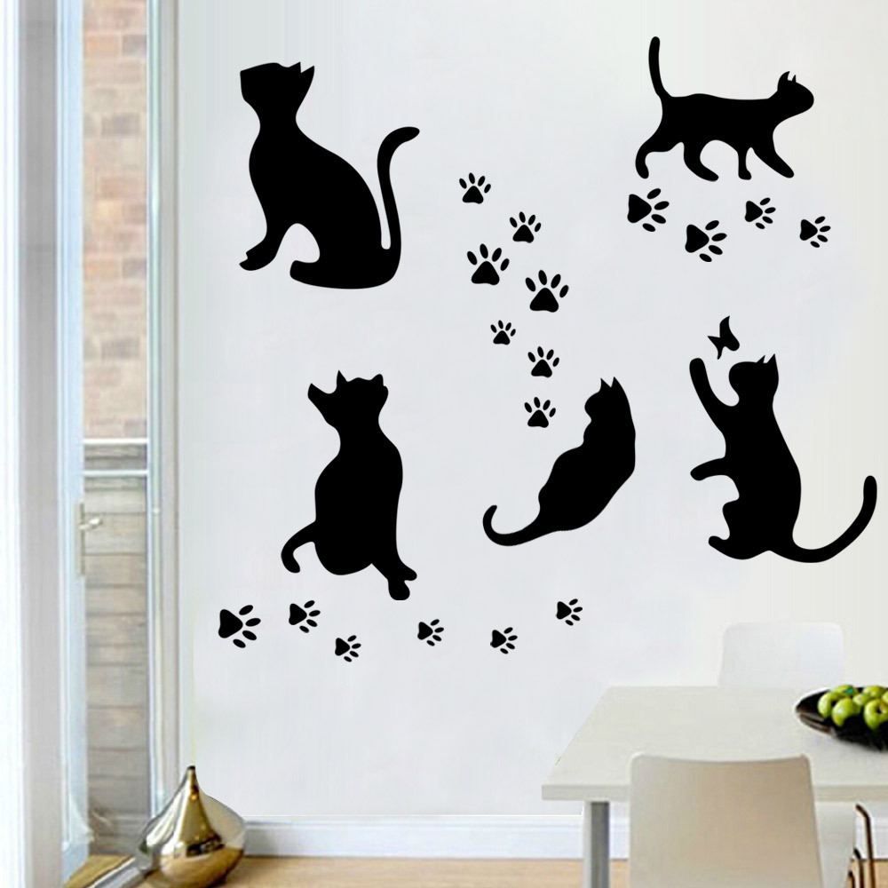 Wholesale novelty black cat wall stickers decorative decals wholesale novelty black cat wall stickers decorative decals creative home decoration on bedroom kids gift waterproof decor 10pc in wall stickers from home amipublicfo Gallery