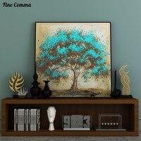 สีฟ้าบทคัดย่อต้นไม้ที่มีสีสัน100%มือวาดภาพสีน้ำมันขนาดใหญ่ขนาดบนผืนผ้าใบศิลปะติดผนังบ้าน...