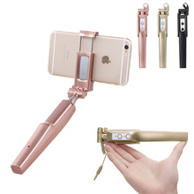цена на Mini handheld Monopod with LED fill light for Iphone 6 6s 7 Selfie stick with phone holder for Android Huawei Xiaomi Samsung