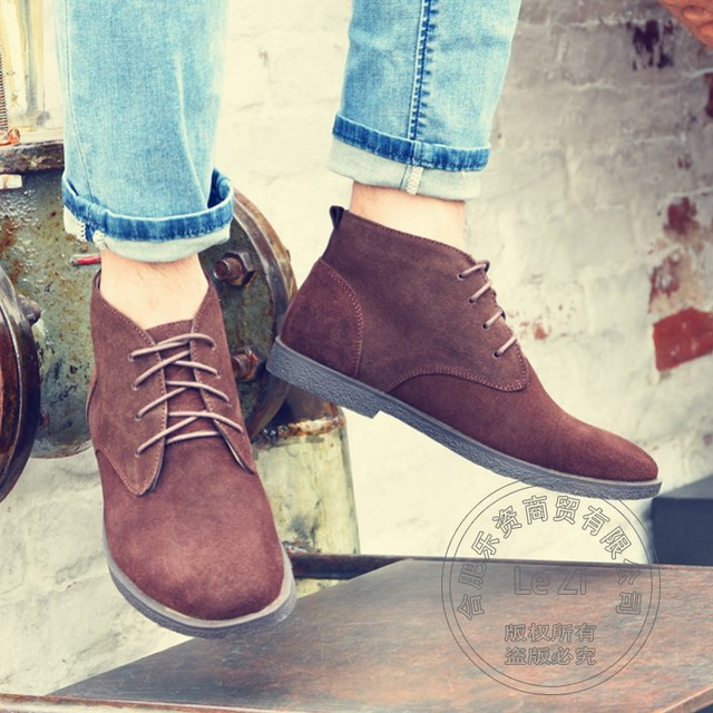British Style Leisure Thermal Big Size Mens Winter Boots Fur Lined Matte Cow Suede Botas Solid Color Funky Bandage Round Toe