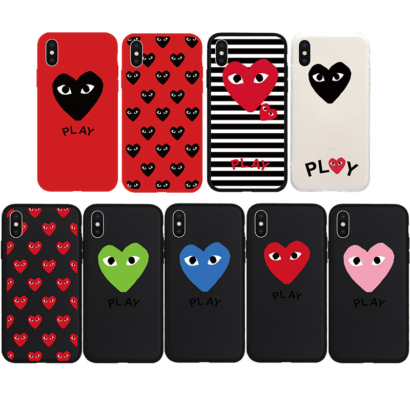 Brand NEW Fashion Cute CDG PLAY Heart Eyes Soft Case for