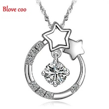 Necklaces Pendants Women 2016 New Fashion Fine Jewelry Silver Plated Wishing Star Mosaic Rhinestone pentagram