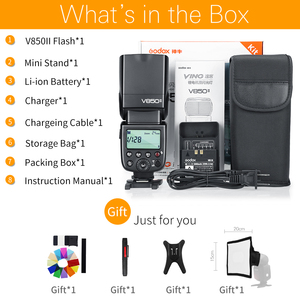 Image 2 - Godox V850II 2.4G GN60 Wireless X System Li ion Battery Speedlite for Canon Nikon Sony Pentax Olympus + Free 15*20cm Softbox Kit