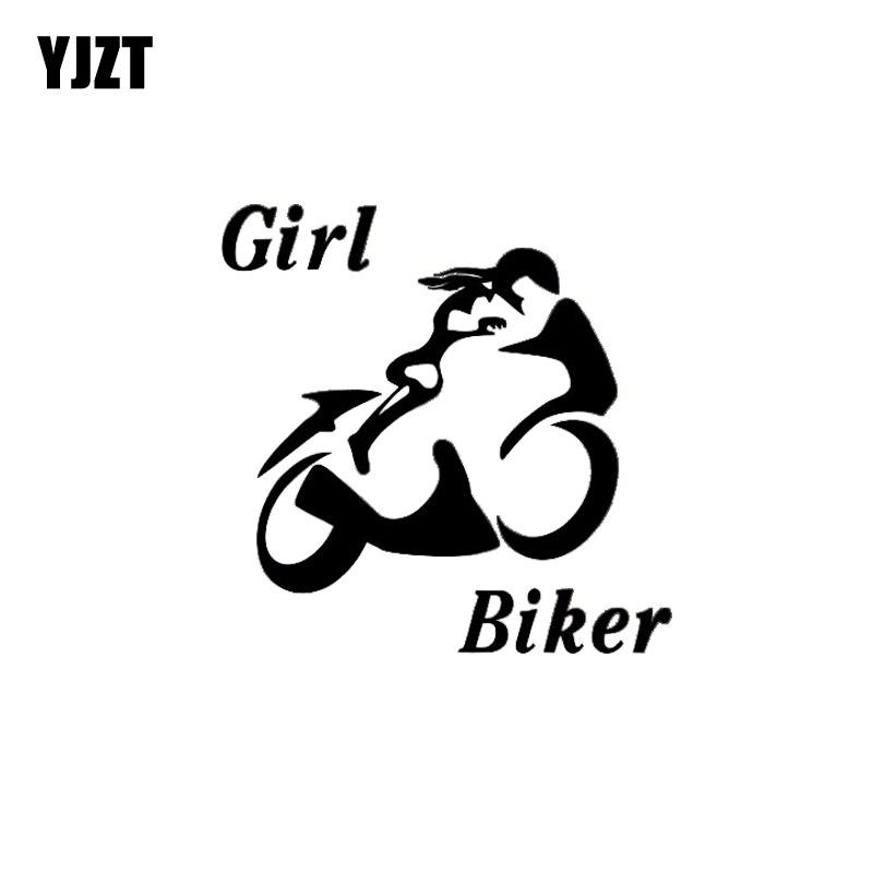 YJZT 10.3*10.3CM Sexy Powerful Girl Biker Popular Design Black/Silver Zero Defect Skillful Vinyl Car Sticker Decal C20-0680