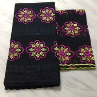 5Yards New fashion black african cotton fabric with flower embroidery and 2Yards french net lace set for dress BC40 1
