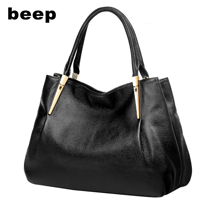 Beep Brand 2017 New Superior cowhide fashion Leisure Genuine Leather bag  tote women leather shoulder bag  women's bag beep beep go to sleep